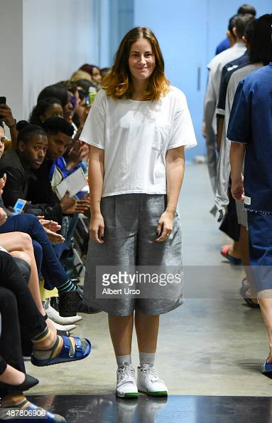 Designer Emma Liljedahl walks the runway at the Apollonius show during Spring 2016 New York Fashion Week The Shows at the Prince George Gallery on...