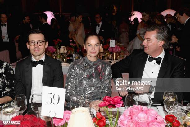 Designer Erdem Moralioglu actress Ruth Wilson and guest during The Fashion Awards 2017 in partnership with Swarovski at Royal Albert Hall on December...