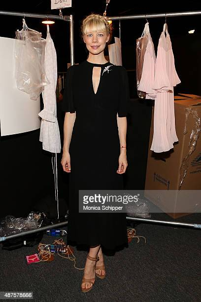 Designer Erin Fetherston poses backstage at the Erin Fetherston fashion show during Spring 2016 New York Fashion Week The Shows at The Dock Skylight...