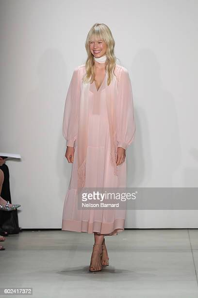Designer Erin Fetherston poses on the runway at Erin Fetherston fashion show during New York Fashion Week The Shows September 2016 at The Gallery...