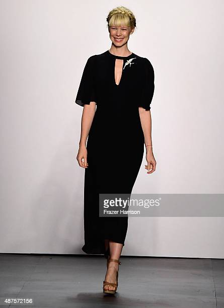 Designer Erin Fetherston walks the runway at the Erin Fetherston fashion show during Spring 2016 New York Fashion Week The Shows at The Dock Skylight...