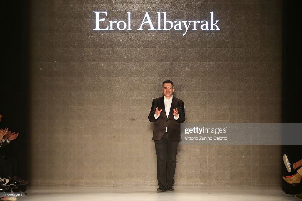 Designer <a gi-track='captionPersonalityLinkClicked' href=/galleries/search?phrase=Erol+Albayrak+-+Fashion+Designer&family=editorial&specificpeople=12547708 ng-click='$event.stopPropagation()'>Erol Albayrak</a> walks the runway after his show during MBFWI presented by American Express Fall/Winter 2014 on March 14, 2014 in Istanbul, Turkey.
