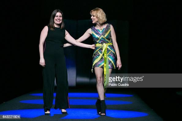 Designer Esther Noriega and actress Maggie Civantos walk the runway at the Esther Noriega show during the MercedesBenz Madrid Fashion Week...