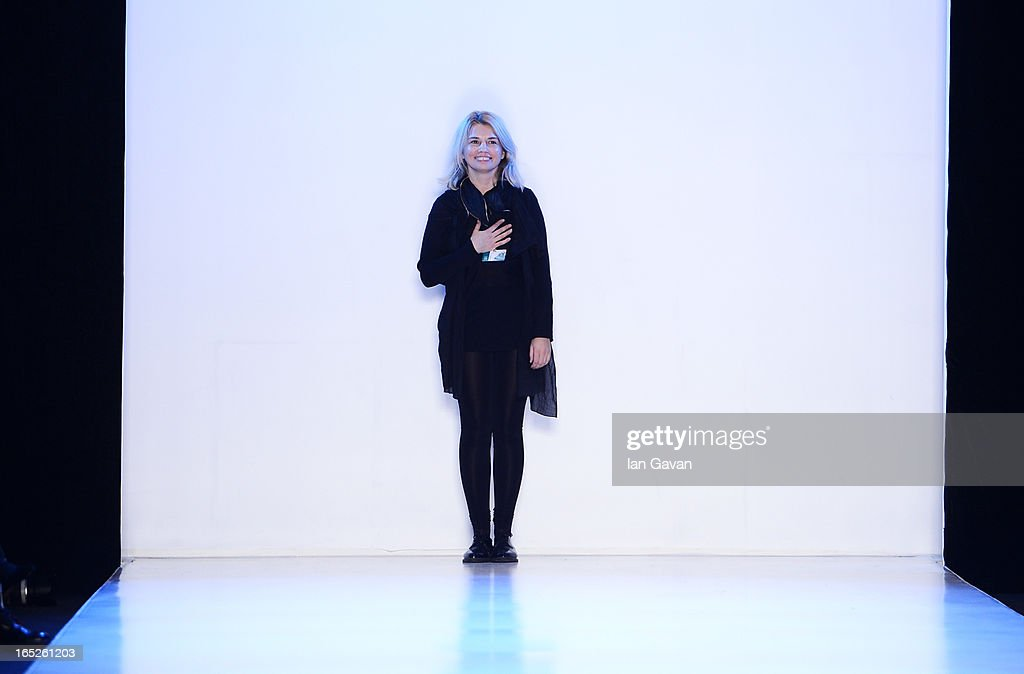Designer Eugene Malygina at the Pirosmani by <a gi-track='captionPersonalityLinkClicked' href=/galleries/search?phrase=Jenya+Malygina+-+Fashion+Designer&family=editorial&specificpeople=14259351 ng-click='$event.stopPropagation()'>Jenya Malygina</a> show during Mercedes-Benz Fashion Week Russia Fall/Winter 2013/2014 at Manege on April 2, 2013 in Moscow, Russia.