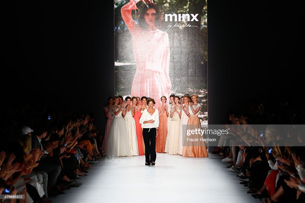Designer Eva Lutz acknowledges the applause after the Minx by Eva Lutz show during the MercedesBenz Fashion Week Berlin Spring/Summer 2016 at...