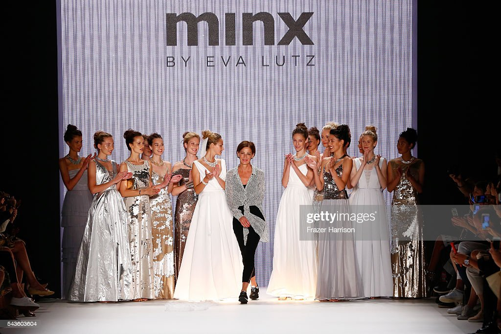 Designer Eva Lutz acknowledges the applause of the audience after the Minx by Eva Lutz show during the MercedesBenz Fashion Week Berlin Spring/Summer...