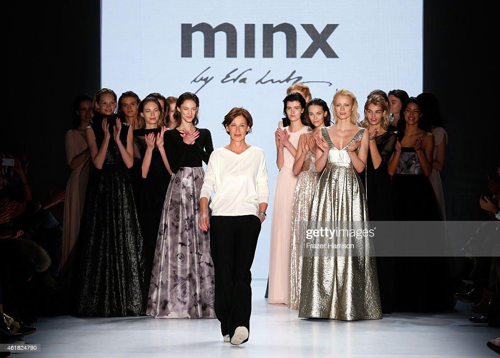 Designer Eva Lutz and models walk the runway at the Minx by Eva Lutz show during the MercedesBenz Fashion Week Berlin Autumn/Winter 2015/16 at...