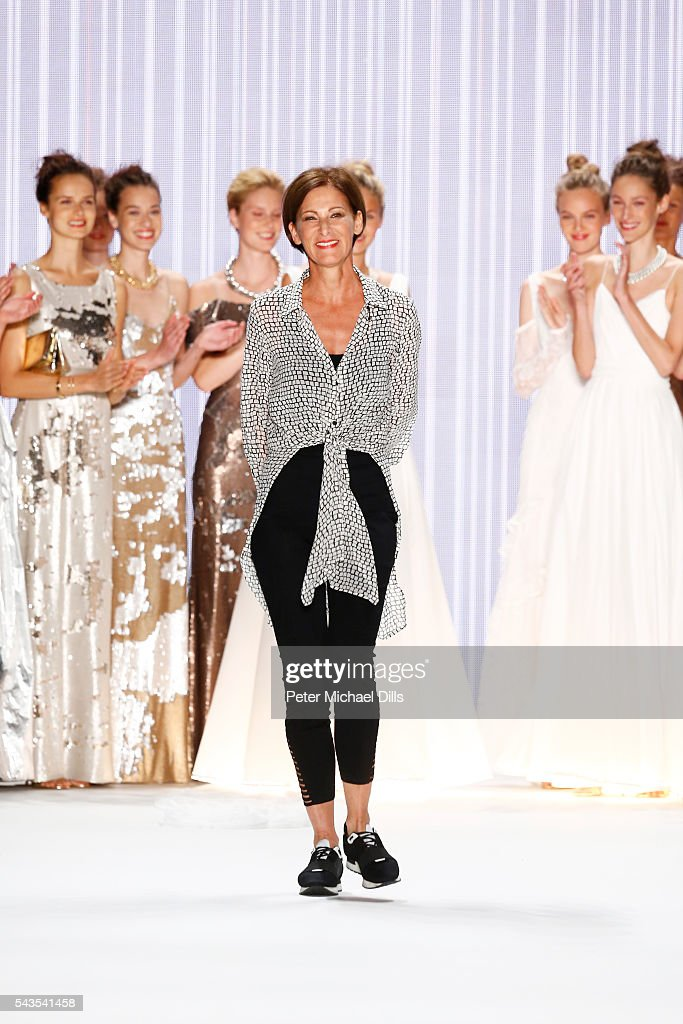 Designer Eva Lutz l walks the runway after the Minx by Eva Lutz show during the Mercedes-Benz Fashion Week Berlin Spring/Summer 2017 at Erika Hess Eisstadion on June 29, 2016 in Berlin, Germany.
