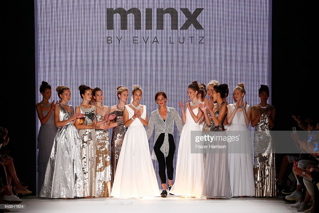 Designer Eva Lutz l walks the runway after the Minx by Eva Lutz show during the Mercedes-Benz Fashion Week Berlin Spring/Summer 2017 at Erika Hess Eisstadion on June 29, 2016 in Berlin, Germany.