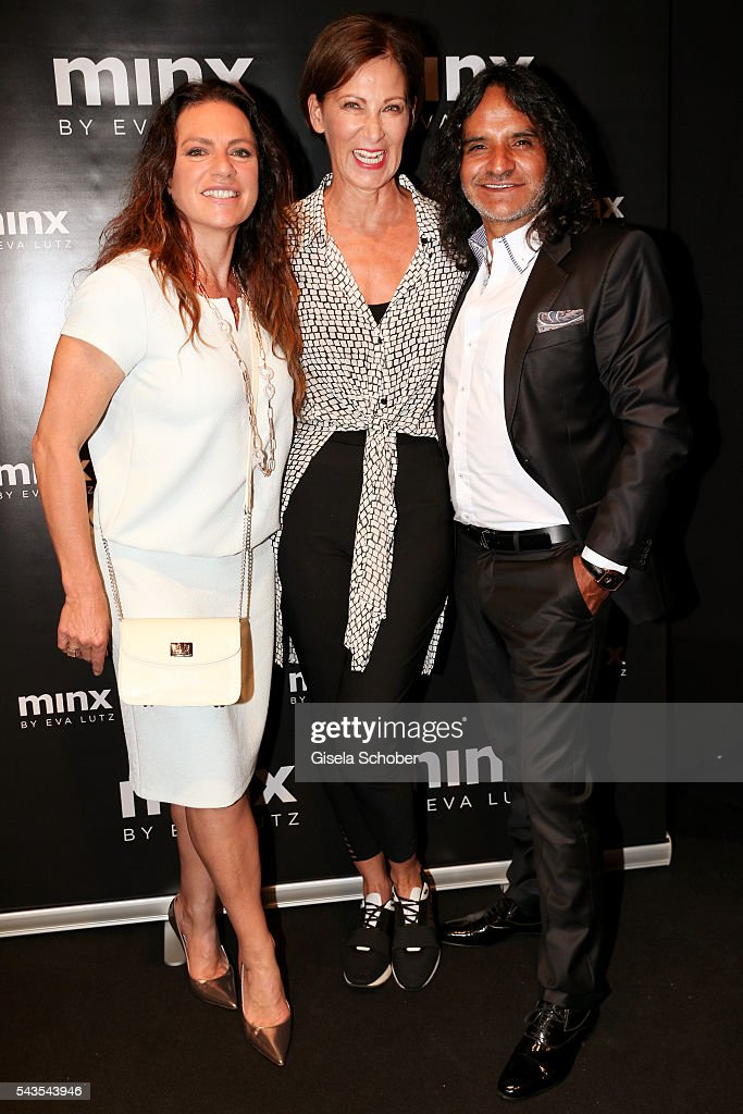Designer Eva Lutz with Christine Neubauer and Jose Campos at the Minx by Eva Lutz show during the MercedesBenz Fashion Week Berlin Spring/Summer 2017...