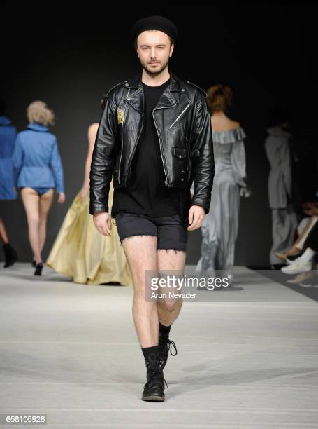 Designer Evan Clayton walks the runway at Vancouver Fashion Week Fall/Winter 2017 at Chinese Cultural Centre of Greater Vancouver on March 26 2017 in...
