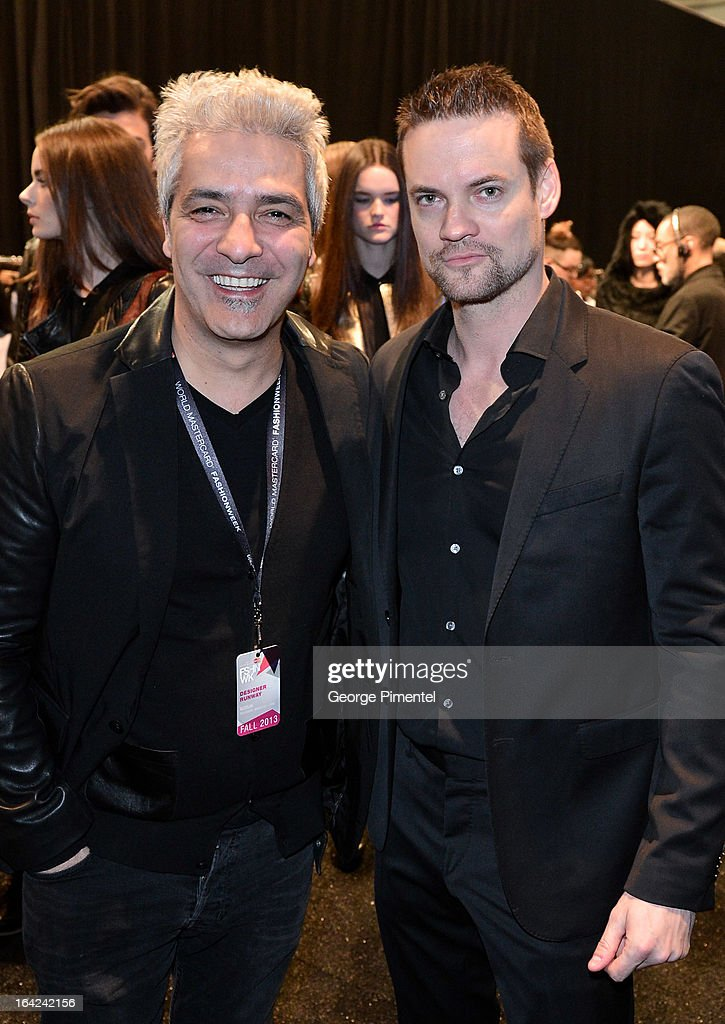 Designer Evik Asatoorian and actor Shane West during World MasterCard Fashion Week Fall 2013 at David Pecaut Square on March 21, 2013 in Toronto, Canada.