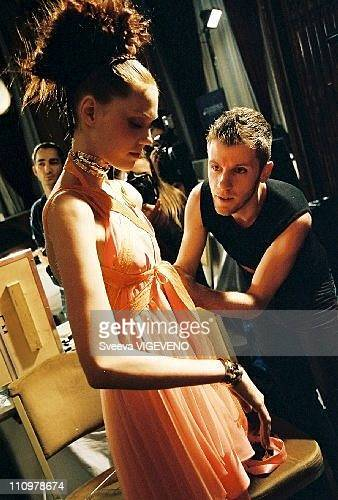 Designer Eymeric Francois at the Eymeric Francois's Backstage Haute Couture SpringSummer 2005 in Paris France on January 27th 2005