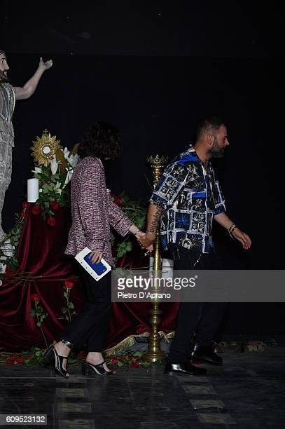 Designer Fausto Puglisi acknowledges the applause of the audience after the Fay show during Milan Fashion Week Spring/Summer 2017 on September 21...