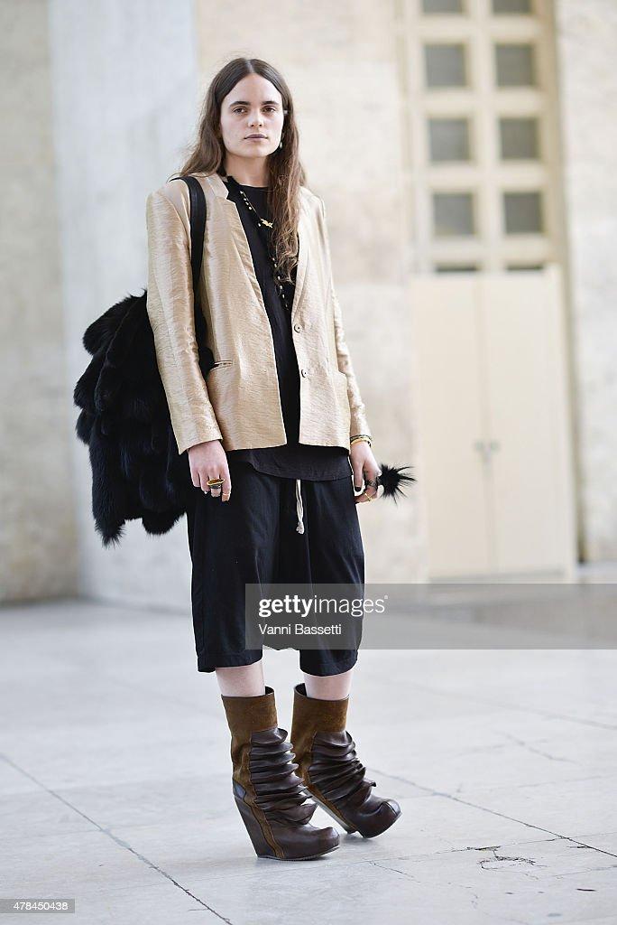 Designer Felicia Swartling poses wearing Rick Owens shoes on June 25 2015 in Paris France