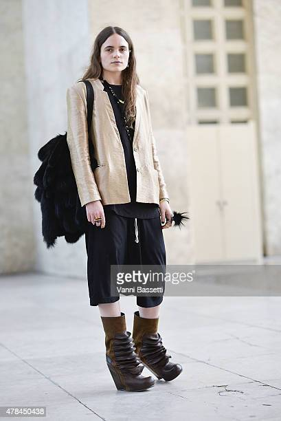 Designer Felicia Swartling poses wearing Rick Owens shoes on June 25 2015 in Paris France
