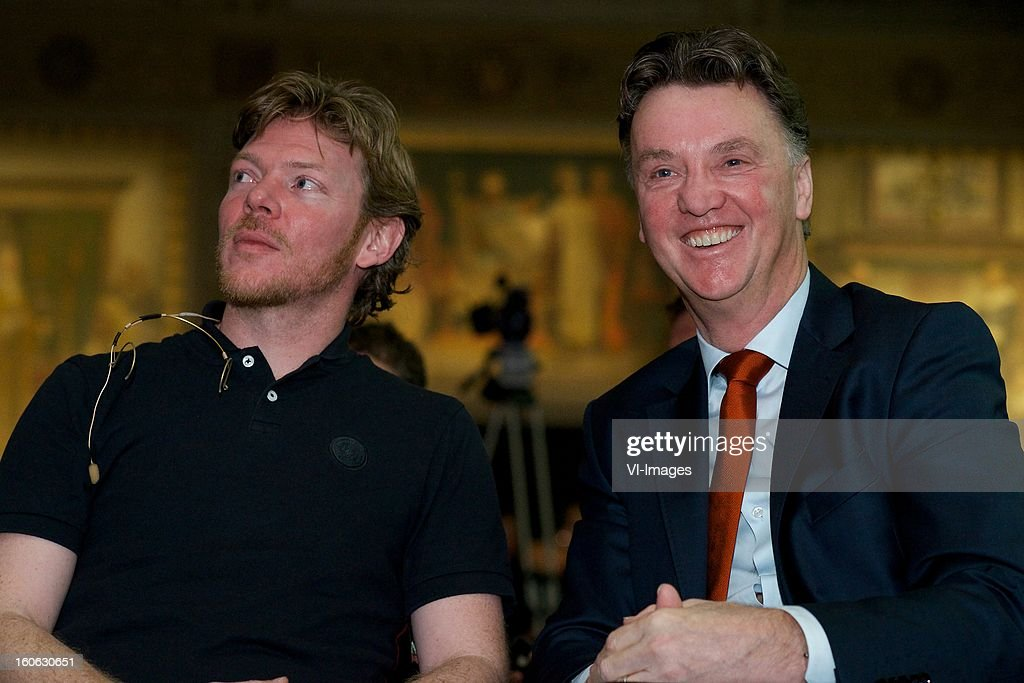 designer Floor Wesseling, coach Louis van Gaal of Holland during the presentation of the new Netherlands National team kit on February 4, 2013 at Amsterdam, Netherlands.