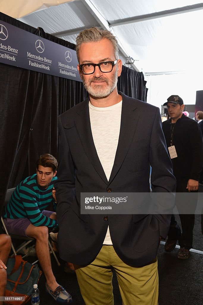 Designer Frank Muytjens poses at the J.Crew Presentation during the Spring 2013 Mercedes-Benz Fashion Week at The Studio at Lincoln Center on September 11, 2012 in New York City.