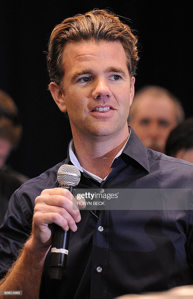Designer Franz von Holzhausen speaks at the unveiling of the new Tesla Model S all-electric sedan, in Hawthorne, California on March 26, 2009. The state-of-the-art, five-seat sedan will be the world's first mass-produced, highway-capable electric car. The car has an anticipated base price of 57,400 US dollars but will cost less than 50,000 after a federal tax credit of 7,500 dollars. AFP PHOTO / Robyn BECK
