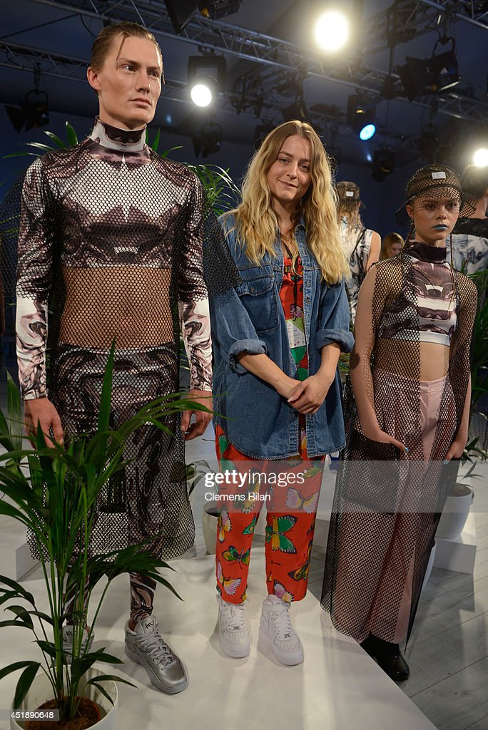 Designer Franziska Michael (C) poses with models after at the Franziska Michael show during the Mercedes-Benz Fashion Week Spring/Summer 2015 at Erika Hess Eisstadion on July 9, 2014 in Berlin, Germany.