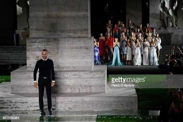 Designer Fulvio Rigoni walks the runway at the Salvatore Ferragamo show during Milan Fashion Week Spring/Summer 2018 on September 23 2017 in Milan...
