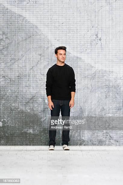 Designer Gabriele Colangelo after the show on the runway at the Gabriele Colangelo show during MercedesBenz Fashion Days Zurich 2013 on November 13...