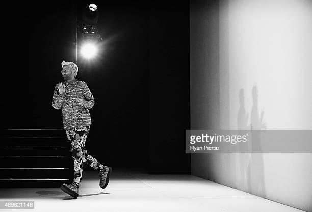 Designer Gary Bigeni is seen during the Gary Bigeni Show at MercedesBenz Fashion Week Australia 2015 at Carriageworks on April 13 2015 in Sydney...