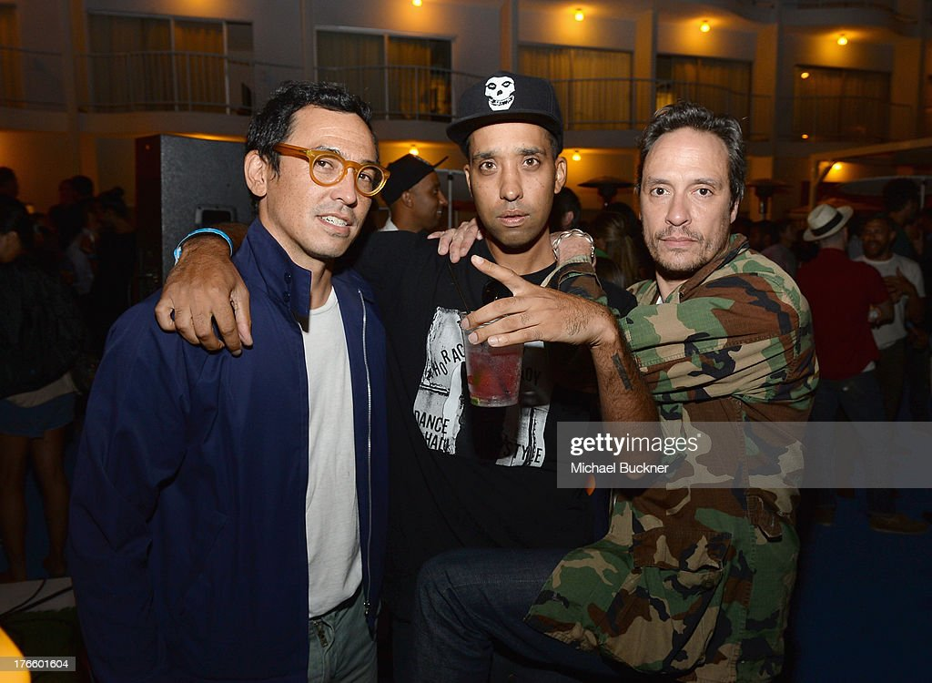 Designer Geoff McFetridge, DJ Ako and DV Devincent attend Warby Parker's store opening in The Standard, Hollywood on August 15, 2013 in Los Angeles, California.
