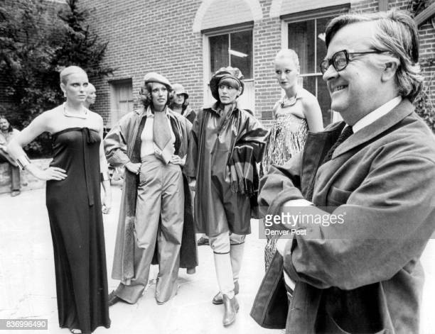 Designer Geoffrey Beene Relaxes Before Fashion Show In Central City Tuesday Models stand in courtyard with Beene wearing his creations including from...
