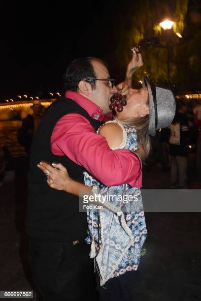 Designer Georges Bedran and PR Pheniciaa Virginie Graveleine attend Photographer Ko Kok Birthday Party At Le Vert Galant Garden on April 9 2017 in...