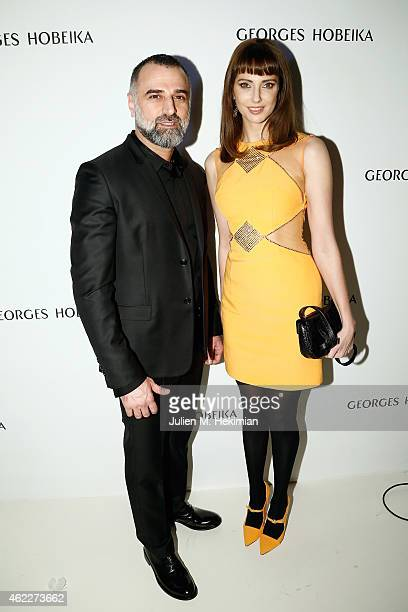 Designer Georges Hobeika and Frederique Bel attend the Georges Hobeika Haute Couture Spring/Summer 2015 Show as part of Paris Fashion Week on January...