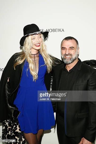 Designer Georges Hobeika and model Tatiana Dyagileva attend the Georges Hobeika Haute Couture Spring/Summer 2015 Show as part of Paris Fashion Week...