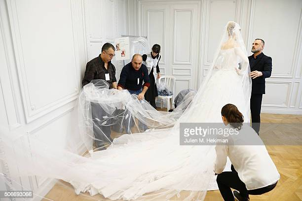 Designer Georges Hobeika is pictured while he is working on the last details before his Haute Couture show Spring/Summer 2016 as part of Paris...
