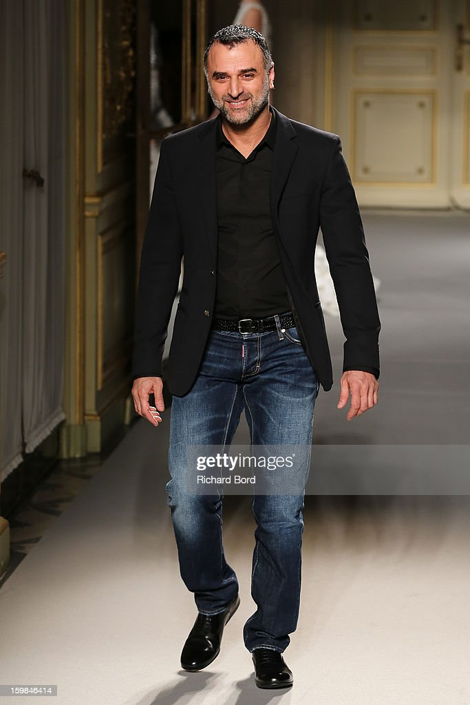 Designer <a gi-track='captionPersonalityLinkClicked' href=/galleries/search?phrase=Georges+Hobeika+-+Fashion+Designer&family=editorial&specificpeople=13871973 ng-click='$event.stopPropagation()'>Georges Hobeika</a> walks the runway during the <a gi-track='captionPersonalityLinkClicked' href=/galleries/search?phrase=Georges+Hobeika+-+Fashion+Designer&family=editorial&specificpeople=13871973 ng-click='$event.stopPropagation()'>Georges Hobeika</a> Spring/Summer 2013 Haute-Couture show as part of Paris Fashion Week at Hotel Meurice on January 21, 2013 in Paris, France.
