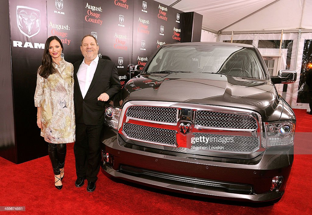 Designer Georgina Chapman (L) and producer <a gi-track='captionPersonalityLinkClicked' href=/galleries/search?phrase=Harvey+Weinstein&family=editorial&specificpeople=201749 ng-click='$event.stopPropagation()'>Harvey Weinstein</a> attend the 'August: Osage County' New York Ciity premiere sponsored by Ram at Ziegfeld Theatre on December 12, 2013 in New York City.