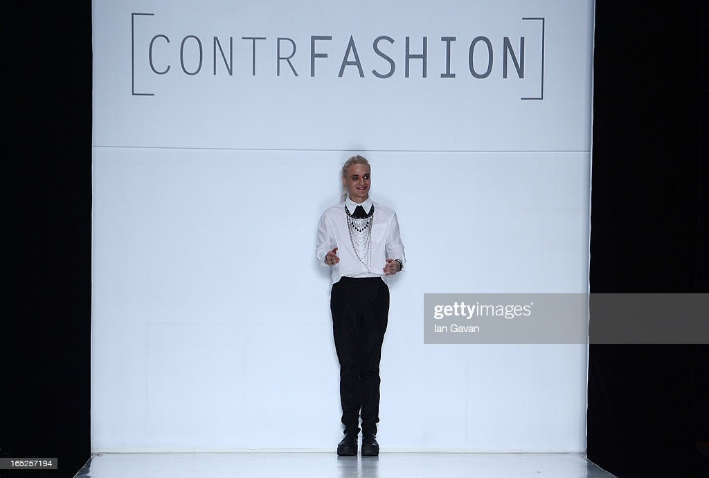 Designer Gera Skandal of Gera Skandal on the runway at the Contrfashion show during Mercedes-Benz Fashion Week Russia Fall/Winter 2013/2014 at Manege on April 2, 2013 in Moscow, Russia.