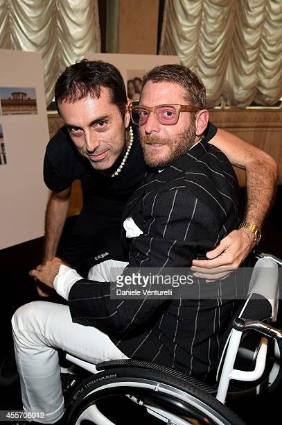 Designer Giambattista Valli and Lapo Elkann seen backstage after the Giamba Show as part of Milan Fashion Week Womenswear Spring/Summer 2015 on...