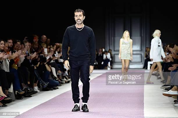 Designer Giambattista Valli appears on the runway after the Giambattista Valli show as part of the Paris Fashion Week Womenswear Spring/Summer 2016...