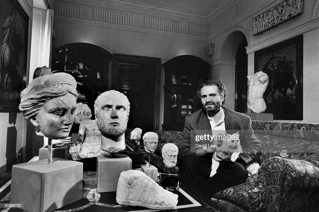 Designer Gianni Versace at home with his sculpture collection