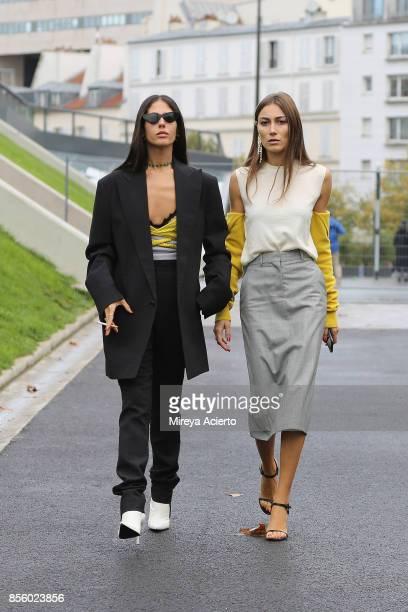 Designer Gilda Ambrosio and creative diretcor Giorgia Tordini seen during Paris Fashion Week Womenswear Spring/Summer 2018 on September 30 2017 in...