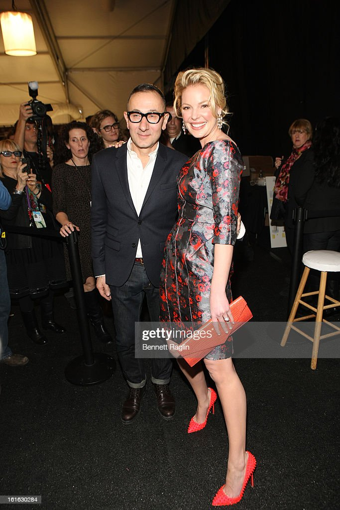 Designer <a gi-track='captionPersonalityLinkClicked' href=/galleries/search?phrase=Gilles+Mendel&family=editorial&specificpeople=638035 ng-click='$event.stopPropagation()'>Gilles Mendel</a> and actress <a gi-track='captionPersonalityLinkClicked' href=/galleries/search?phrase=Katherine+Heigl&family=editorial&specificpeople=206952 ng-click='$event.stopPropagation()'>Katherine Heigl</a> attends J. Mendel during Fall 2013 Mercedes-Benz Fashion Week at The Theatre at Lincoln Center on February 13, 2013 in New York City.