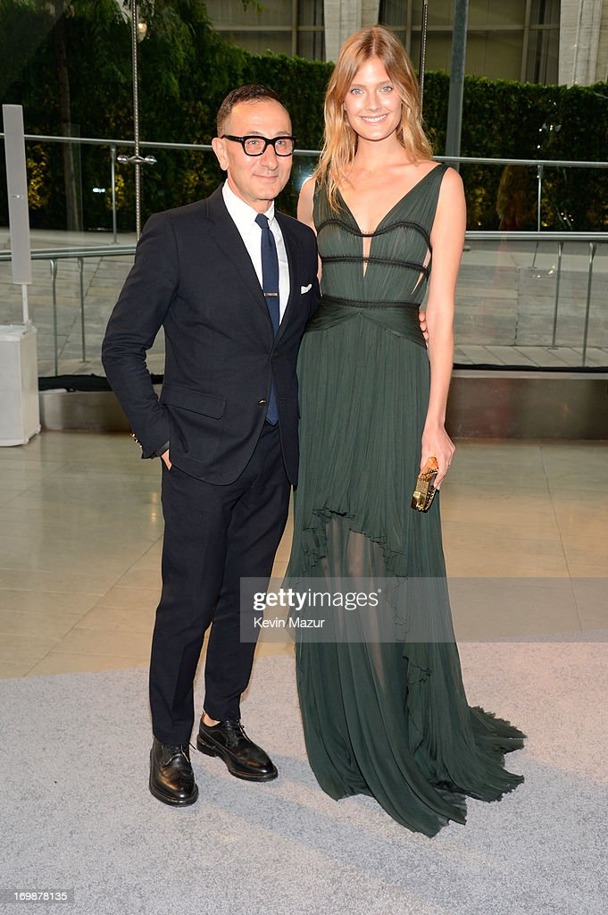 Designer Gilles Mendel (L) and model Constance Jablonski attend 2013 CFDA Fashion Awards at Alice Tully Hall on June 3, 2013 in New York City.