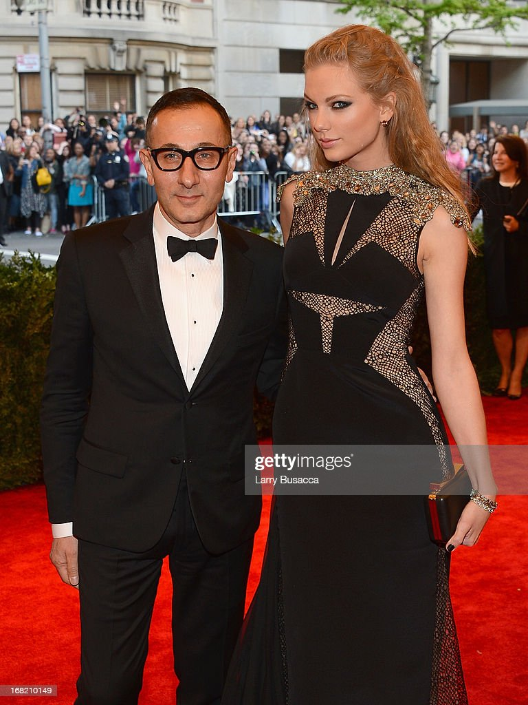 Designer Gilles Mendel and Taylor Swift attend the Costume Institute Gala for the 'PUNK: Chaos to Couture' exhibition at the Metropolitan Museum of Art on May 6, 2013 in New York City.