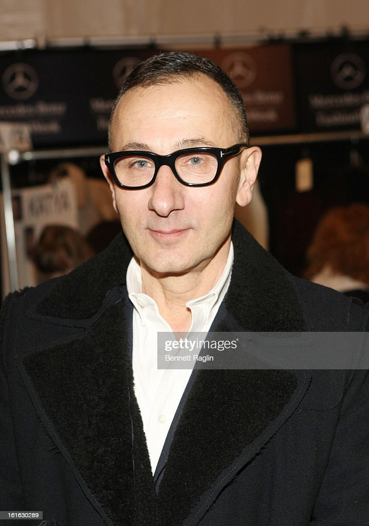 Designer <a gi-track='captionPersonalityLinkClicked' href=/galleries/search?phrase=Gilles+Mendel&family=editorial&specificpeople=638035 ng-click='$event.stopPropagation()'>Gilles Mendel</a> attends J. Mendel during Fall 2013 Mercedes-Benz Fashion Week at The Theatre at Lincoln Center on February 13, 2013 in New York City.