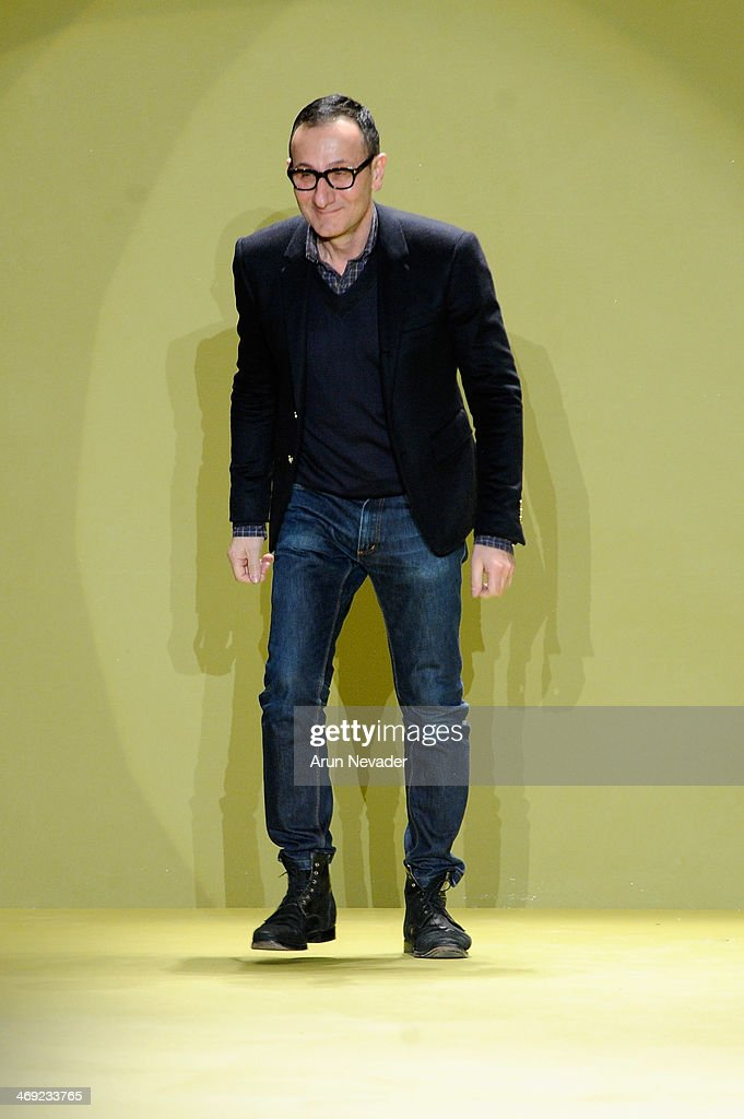 Designer <a gi-track='captionPersonalityLinkClicked' href=/galleries/search?phrase=Gilles+Mendel&family=editorial&specificpeople=638035 ng-click='$event.stopPropagation()'>Gilles Mendel</a> walks the runway at the J. Mendel fashion show during Mercedes-Benz Fashion Week Fall 2014 on February 13, 2014 in New York City.