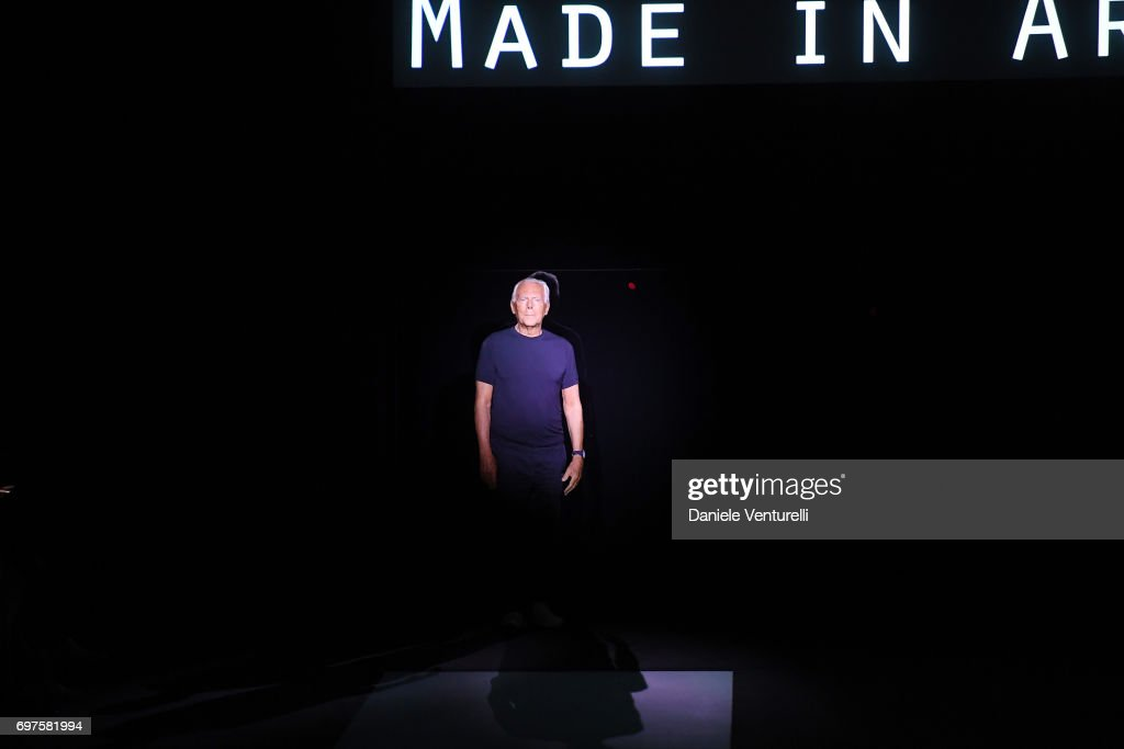 Designer Giorgio Armani acknowledges the applause of the audience at the Giorgio Armani show during Milan Men's Fashion Week Spring/Summer 2018 on June 19, 2017 in Milan, Italy.
