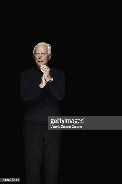 Designer Giorgio Armani acknowledges the applause of the public after the Giorgio Armani show during Milan Fashion Week Fall/Winter 2016/17 on...