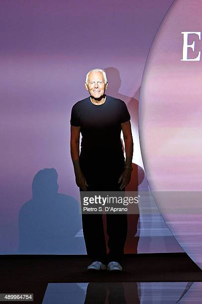 Designer Giorgio Armani acknowledges the audience at the end of Emporio Armani fashion show as part of Milan Fashion Week Spring/Summer 2016 on...
