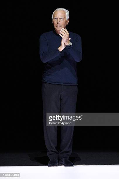 Designer Giorgio Armani ackowledges the applause of the audience after the Giorgio Armani show during Milan Fashion Week Fall/Winter 2016/17 on...