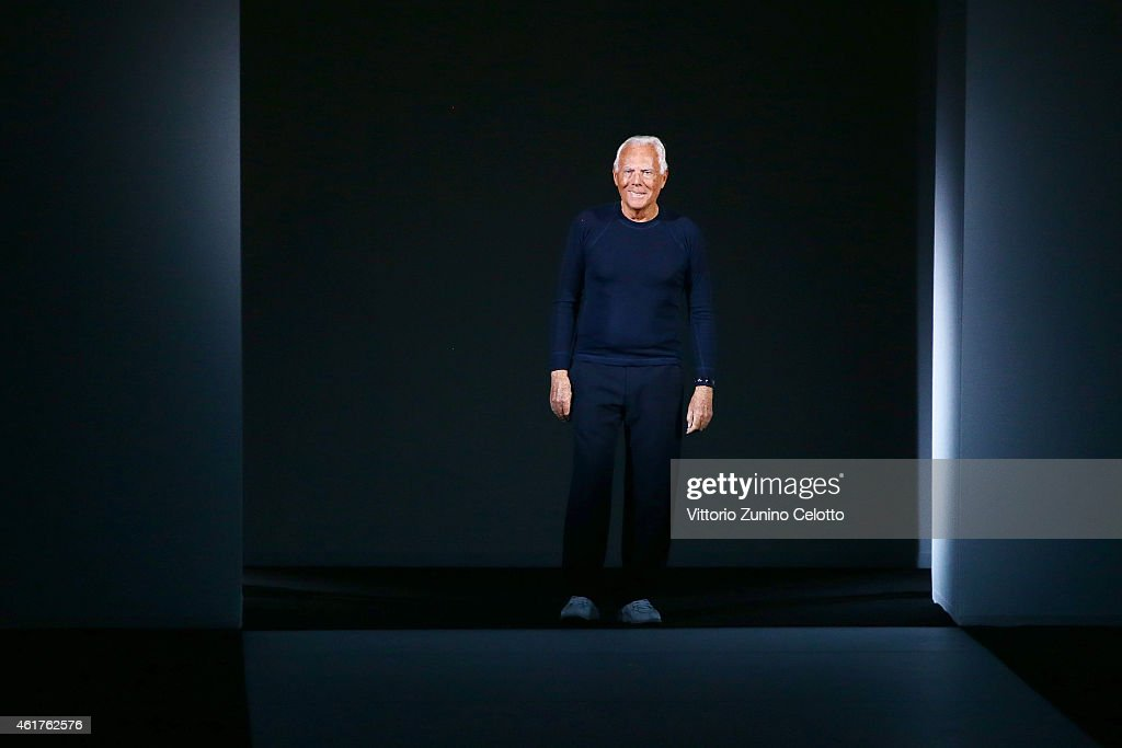 Designer Giorgio Armani after his show Emporio Armani as a part of Milan Menswear Fashion Week Fall Winter 2015/2016 on January 19 2015 in Milan Italy